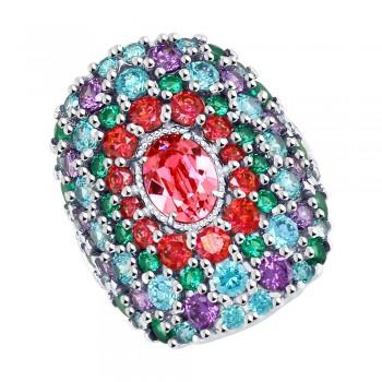 Кольцо из серебра с розовым кристаллом Swarovski и фианитами, артикул 94012458