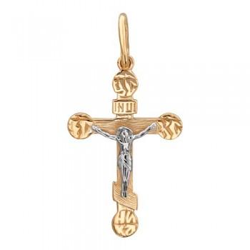 Подвеска Крестик из комбинированного золота 585 пробы, артикул 01Р060658-ПО