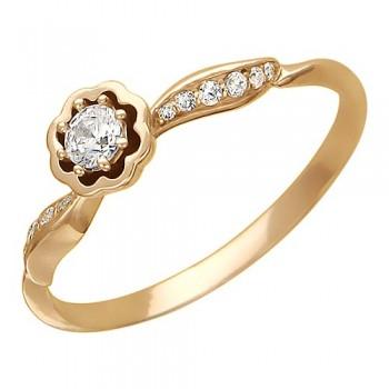 Кольцо из красного золота с 13 фианитами весом 0,49 карат