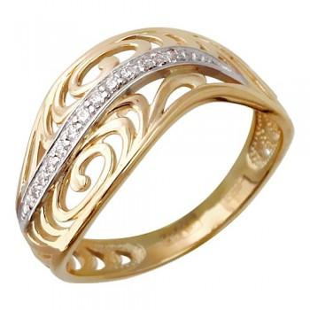 Кольцо из красного золота с 13 фианитами весом 0,13 карат