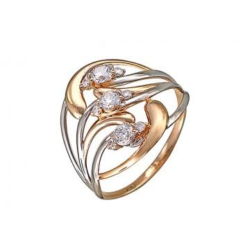 Кольцо из красного золота с 9 фианитами весом 0,83 карат