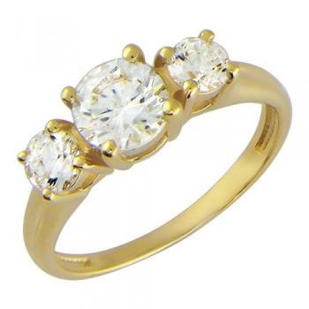 Кольцо из желтого золота с 3 фианитами весом 2,38 карат