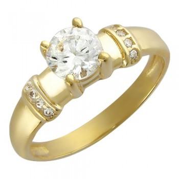 Кольцо из желтого золота с 9 фианитами весом 1,62 карат