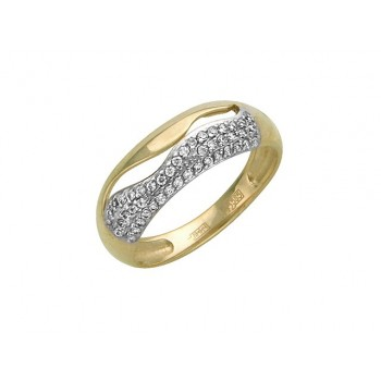 Кольцо из желтого золота с 46 фианитами весом 0,39 карат