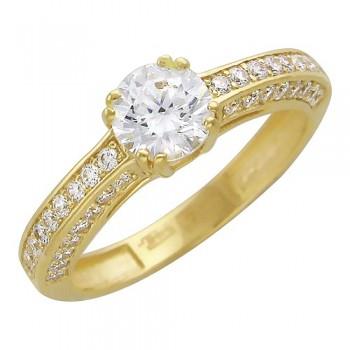 Кольцо из желтого золота с 51 фианитом весом 2,4 карат