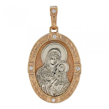 Подвеска Икона Божьей Матери Неувядаемый цвет из комбинированного золота с 8 фианитами весом 0.28 карат