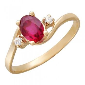 Кольцо из красного золота с 1 синт.сапфиром весом 0.95 карат и фианитами