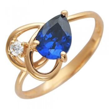 Кольцо из красного золота с 2 фианитами весом 1.81 карат