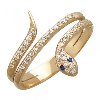 Кольцо из красного золота с 41 фианитом весом 0,35 карат