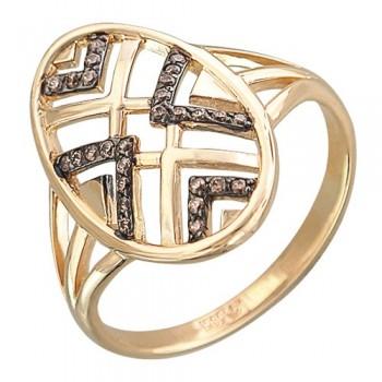Кольцо из красного золота с 29 фианитами весом 0,27 карат