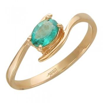 Кольцо из красного золота с 1 изумрудом весом 0.41 карат