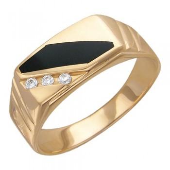 Кольцо из красного золота с 3 бриллиантами весом 0.08 карат и ониксом