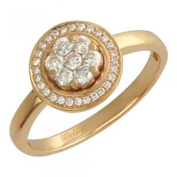 Кольцо из красного золота с 32 бриллиантами весом 0.47 карат