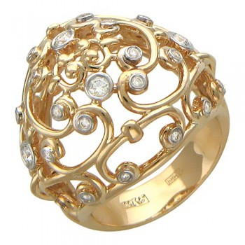Кольцо из красного золота с 28 бриллиантами весом 0.31 карат