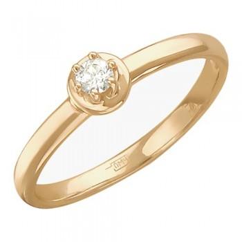 Помолвочное кольцо из красного золота с 1 бриллиантом весом 0.12 карат, артикул 01К616727-КО-БР