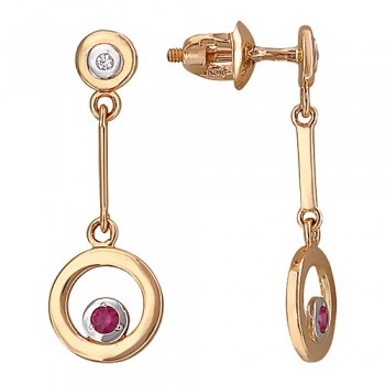 Серьги из красного золота с 2 бриллиантами весом 0.02 карат и рубинами, артикул 01С617576-СЕ-БРРН