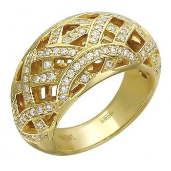 Кольцо из желтого золота с 115 бриллиантами весом 0.84 карат