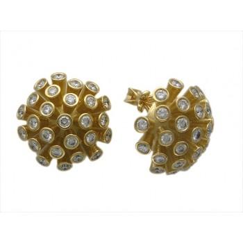 Серьги из желтого золота с 52 бриллиантами весом 2.99 карат