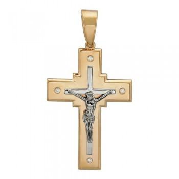 Подвеска Крестик из комбинированного золота с 4 бриллиантами весом 0.05 карат, артикул 01Р660617-ПО-БР