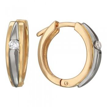 Серьги из комбинированного золота с 2 бриллиантами весом 0.14 карат, артикул 01С664831-СЕ-БР