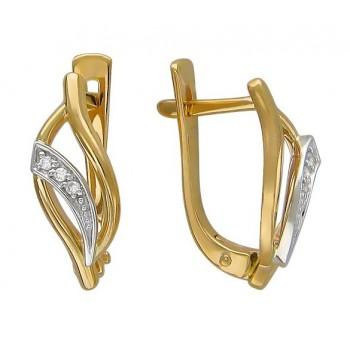 Серьги из комбинированного золота с 6 бриллиантами весом 0.04 карат