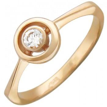 Кольцо из красного золота с 1 фианитом весом 0,2 карат, артикул 01К115041-КО-ФИ