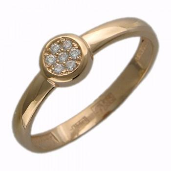 Кольцо из красного золота с 7 фианитами весом 0,13 карат, артикул 01К115138-КО-ФИ