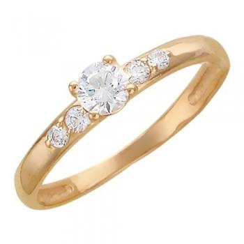 Кольцо из красного золота с 5 фианитами весом 0,58 карат