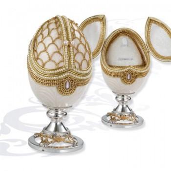 Шкатулка музыкальная  Яйцо на серебряной подставке, артикул 0111776/A