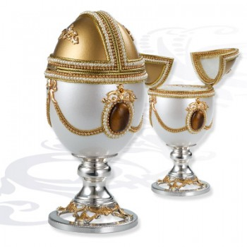 Шкатулка музыкальная  Яйцо на серебряной подставке, артикул 0111777/A