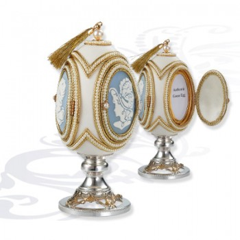 Шкатулка  Яйцо на серебряной подставке, артикул 0111825/A