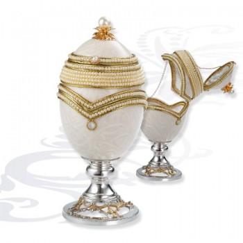 Шкатулка  Яйцо на серебряной подставке, артикул 0111884/A