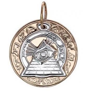 Подвеска амулет Всевидящее Око в круге из красного золота 585 пробы