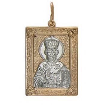 Подвеска Николай Чудотворец в прямоугольном окладе из красного золота 585 пробы