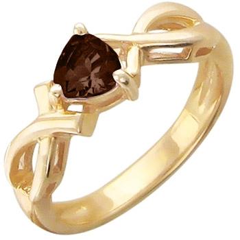 Кольцо из красного золота с 1 раух-топазом весом 0,37 карат