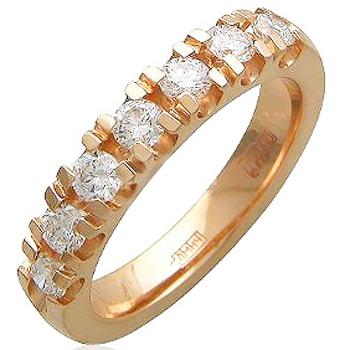 Обручальное кольцо из красного золота с 7 бриллиантами весом 0.53 карат