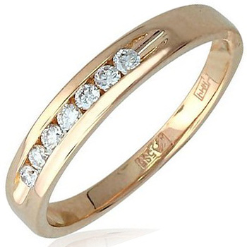 Обручальное кольцо из красного золота с 7 бриллиантами весом 0.24 карат