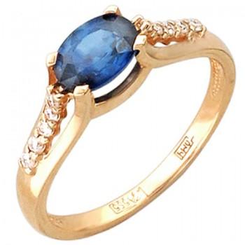 Кольцо из красного золота с 10 бриллиантами весом 0.09 карат и сапфиром