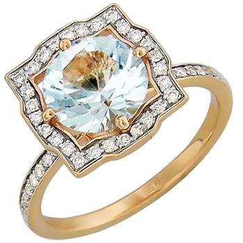 Кольцо из красного золота с 60 бриллиантами весом 0.33 карат и топазом