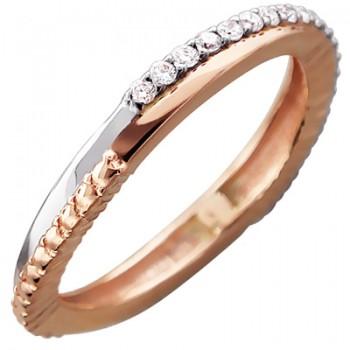 Обручальное кольцо из красного золота с 21 бриллиантом весом 0.23 карат