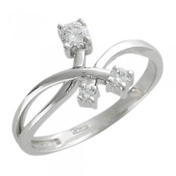 Кольцо из белого золота с 3 бриллиантами весом 0.23 карат