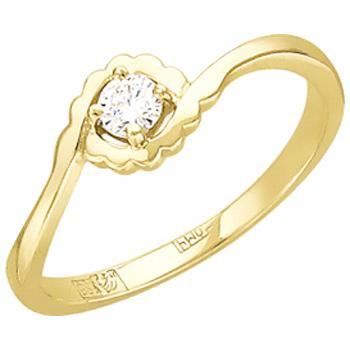 Помолвочное кольцо из желтого золота с 1 бриллиантом весом 0.09 карат, артикул 01К636807-КО-БР