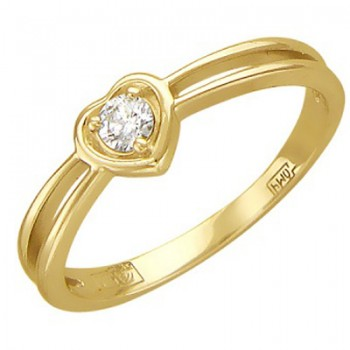Помолвочное кольцо Сердце из желтого золота с 1 бриллиантом весом 0.09 карат