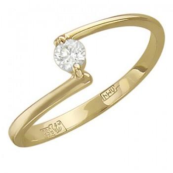 Помолвочное кольцо из желтого золота с 1 бриллиантом весом 0.12 карат, артикул 01К636872-КО-БР
