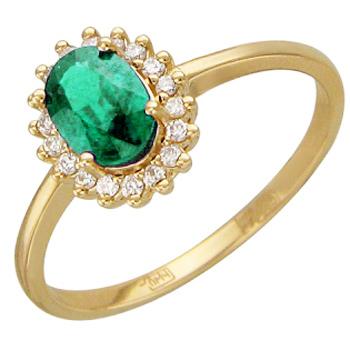 Кольцо из желтого золота с 18 бриллиантами весом 0.12 карат и изумрудом