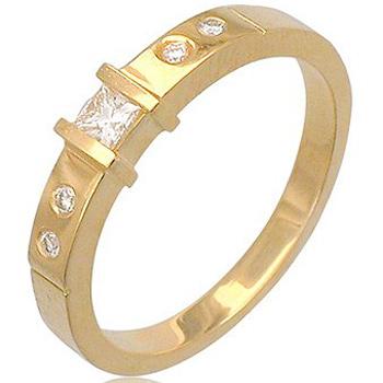 Кольцо из желтого золота с 5 бриллиантами весом 0.21 карат