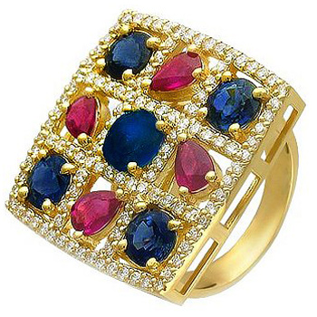 Кольцо из желтого золота с 112 бриллиантами весом 1.18 карат, рубинами и сапфирами