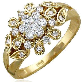 Кольцо из желтого золота с 23 бриллиантами весом 0.65 карат