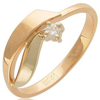 Кольцо из комбинированного золота с 1 бриллиантом весом 0.06 карат, артикул 01К662672-КО-БР