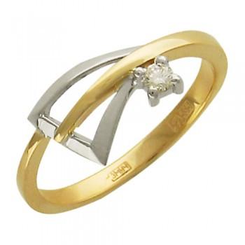 Кольцо из комбинированного золота с 1 бриллиантом весом 0.08 карат, артикул 01К662873Ж-КО-БР
